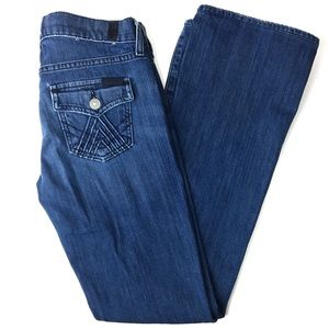 7 FAM Bootcut Flap Pocket Stitch Black Blue Label